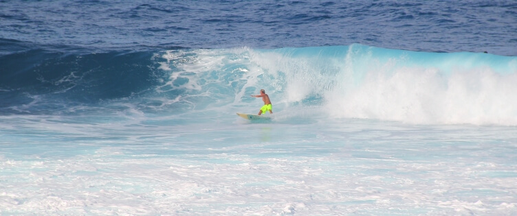 Surfing on Barbados' east coast