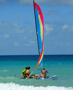 Hobie cat ride in Barbados