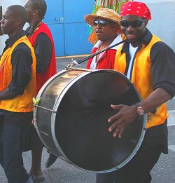 Local tuk band playing at the Holetown Festival in Barbados