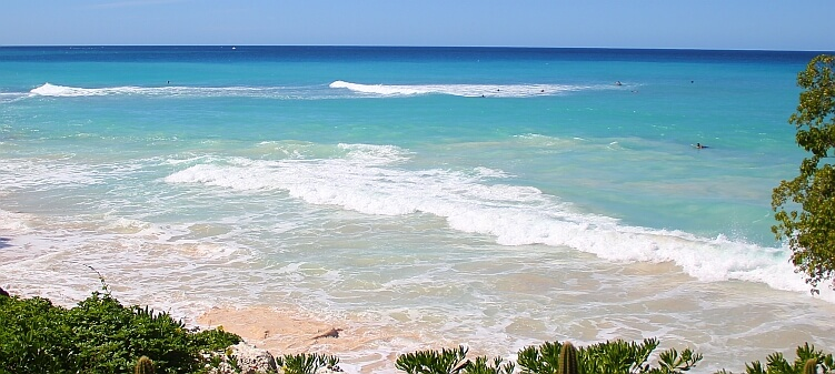Surf's up on the west coast of Barbados