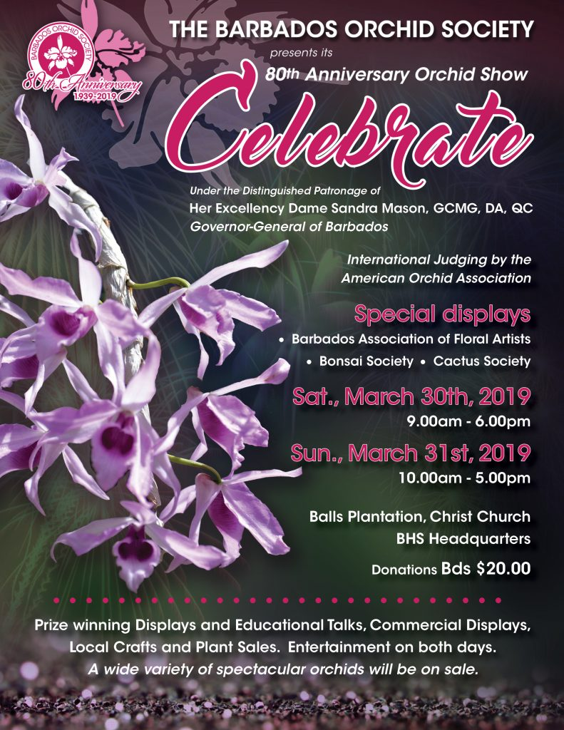 Barbados Orchid Society 80th Anniversary Orchid Show 2019
