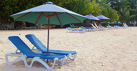 Beach chairs at Accra Beach, Barbados