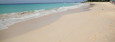 The pink sands of Accra Beach, Barbados