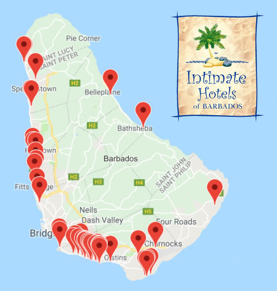Intimate Hotels of Barbados map