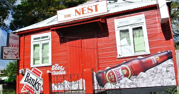 Barbados rum shop with Banks Beers logo