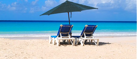 On the beach in Barbados