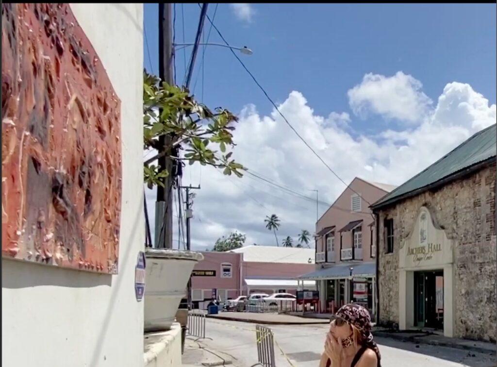 Fire Devastates Speightstown melting down the metal plaque oposite Jumas restaurant