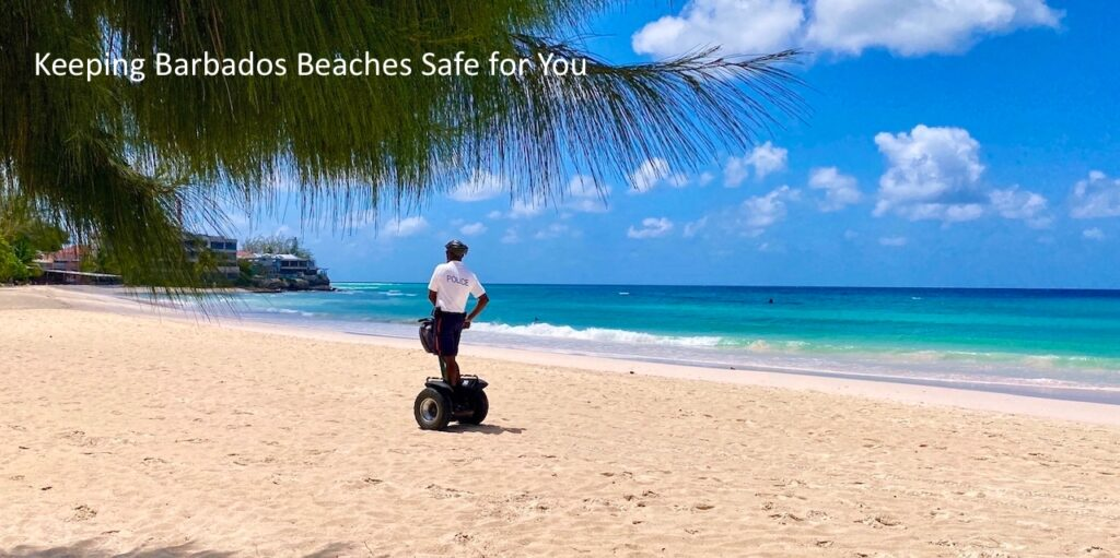 Police checking the beach to help keep bajans and covid traveller safe