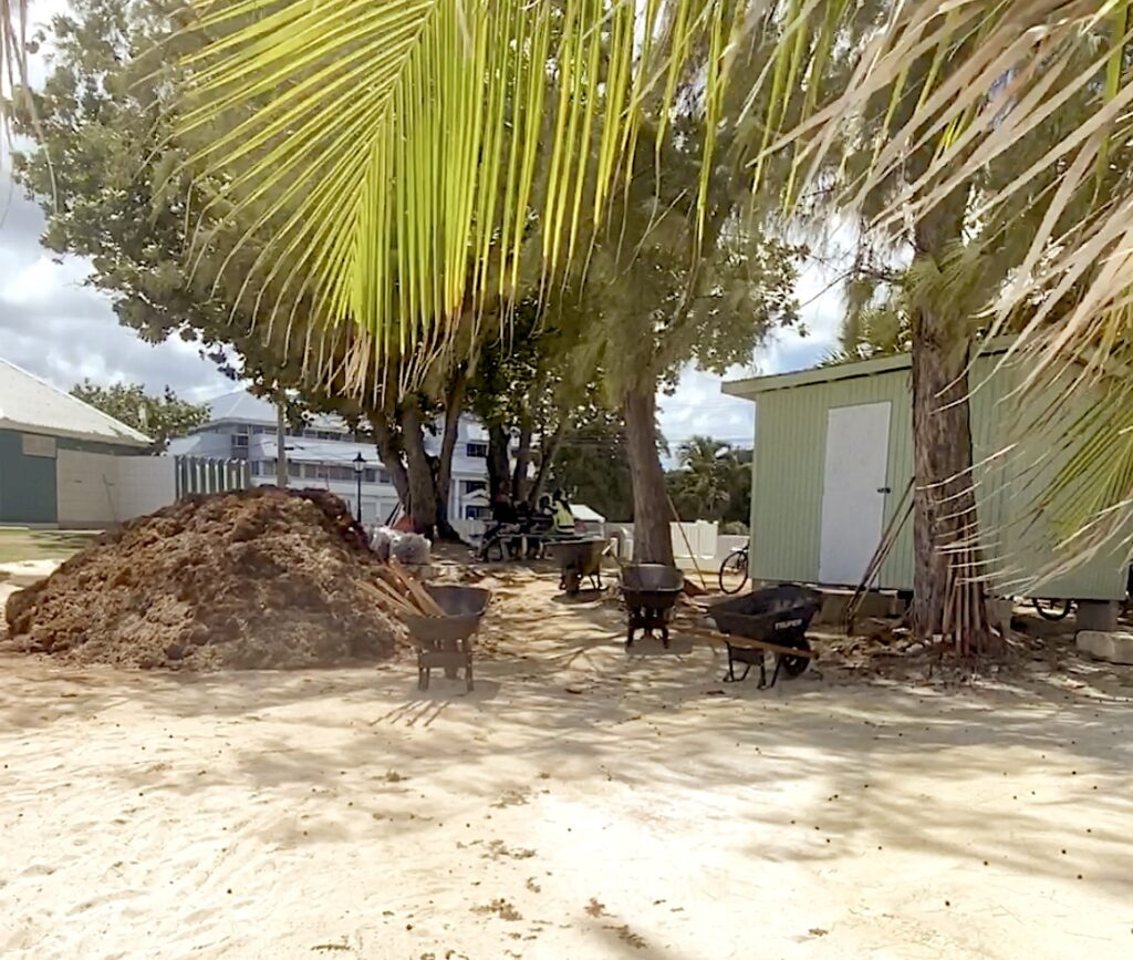 Sargassum squad downs tool to refresh themselves in the shade