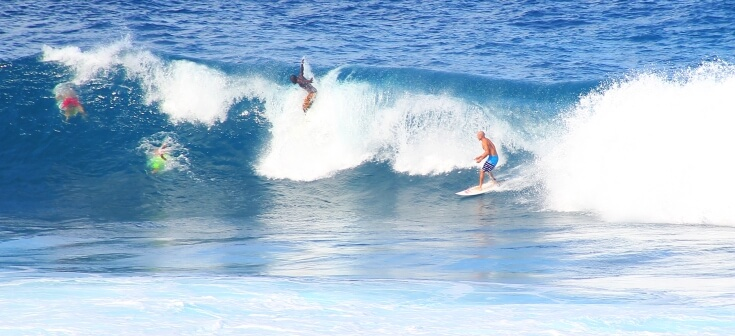 Surfing at Bathsheba