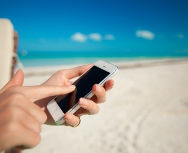 Cellphone on a Barbados beach