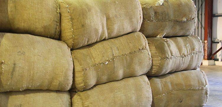 Bales of Barbados cotton for export