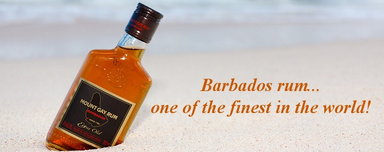 Mountgay Rum on a Barbados beach