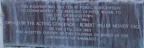 Plaque on the Dolphin Fountain in Barbados