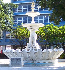 Barbados dolphin fountain in Bridgetown