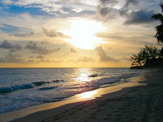 Spectacular Barbados sunset at Worthing Beach