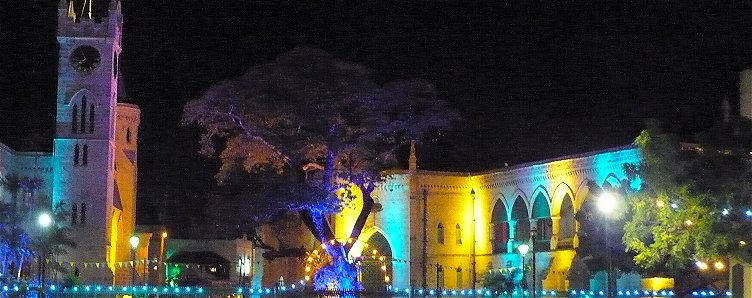 Barbados parliament lit in Independence colours