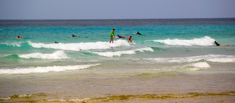 Surfing at Drill Hall Beach, Barbados