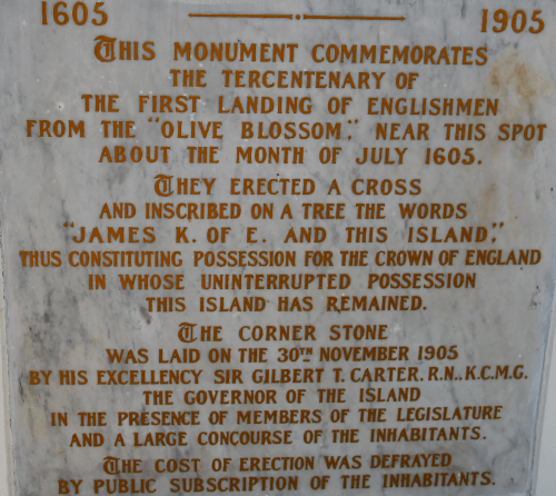 Plaque on the Holetown Monument