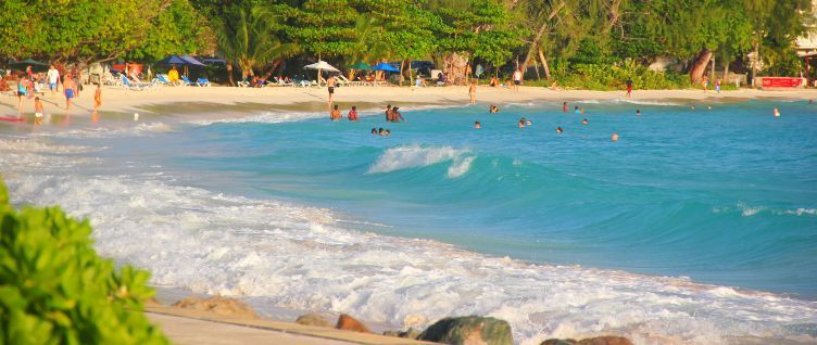 Lively beach at Rockley, Barbados