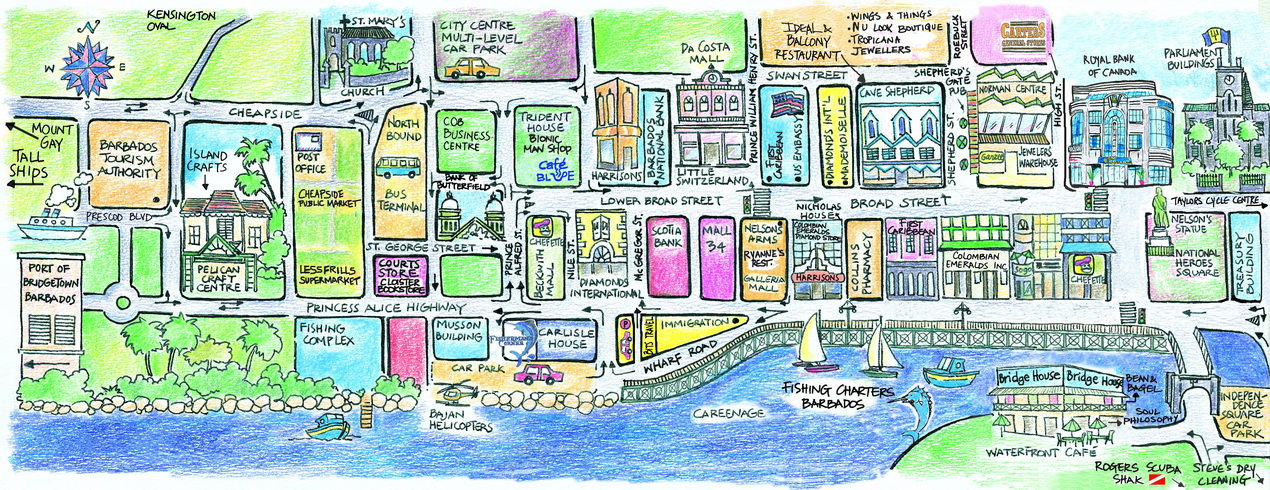 Map Of Bridgetown Barbados - Tourist map of barbados