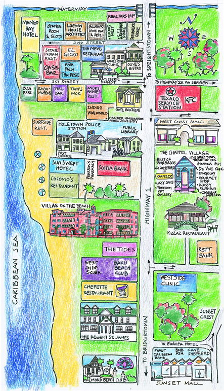 Map Of Holetown - Barbados map