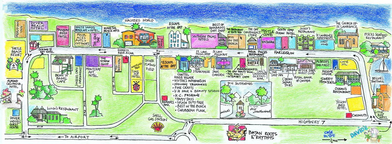 StLawrence Gap Barbados - Tourist map of barbados